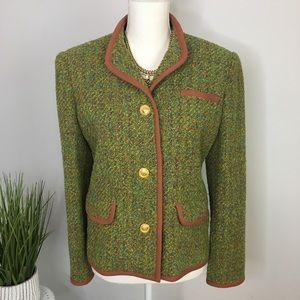 Vintage Tweed Blazer Green Jacket Camel Preppy M